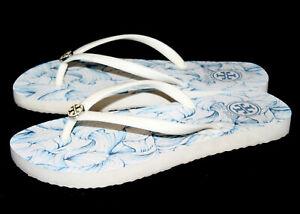 TORY BURCH Ellora Combo Thin Rubber Thong Flip Flop 21168781 Wo's 5M White Blue