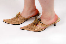 Vintage designer gold shimmer tooled leather Mules maple ivy leaf flower pattern
