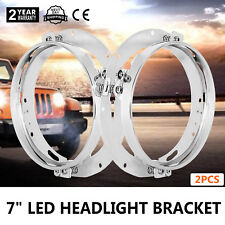 2pcs 7'' LED Headlight Mounting Ring Bracket For Jeep Wrangler 3156351 Silver