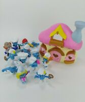 "McDonald's Smurfs Toys 2011 2013 Lot of 11 Figures 3"" Peyo W/ Mushroom House"
