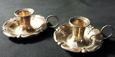Antique Marked Sterling Silver .925  Chamber Candlestick Finger Loop Holders Set
