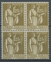 1932-33 France PAIX N°288 1f25 en bloc de 4 Neuf luxe ** P2300