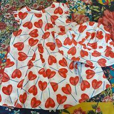 CATIMINI 6M GIRLS DESIGNER SUMMER DRESS & MATCHING HAT LOVE HEART PRINT
