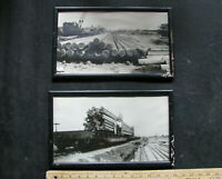 '30s SOUTHERN PACIFIC FLATCAR w RAILROAD WORKERS 2 lg photos OREGON LOGGING MILL