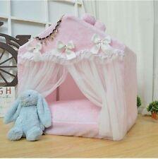 New Sweet Pink/Grey Princess Handmade Pet Dog Cat Bed House Tent Sofa Cushion M