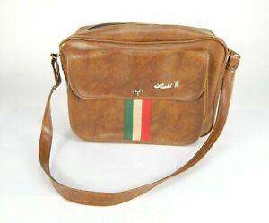 Vintage Luchi II Luggage Faux Leather With Italian Stripes Travel Bag Retro