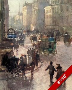 OXFORD STREET WESTMINSTER WEST END 1900S OLD LONDON ENGLAND UK REAL CANVAS PRINT