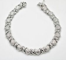 "Gift Box Heart XO Bracelet 7 1/2"" Silver Plated Brass"