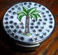 """Palm Tree Rhinestone 1"""" Golf Ball Marker with Magnetic Silver Hat Clip"""
