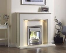 ELECTRIC CREAM IVORY SILVER FIRE PEBBLE WALL SURROUND FIREPLACE SUITE SPOTLIGHTS