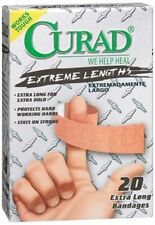1 Box of Curad Extreme Lengths,Extra Long Bandaids - Latex Free= 20 Bandages