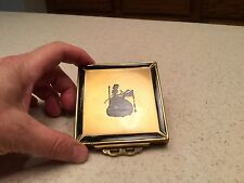 Vintage Ladies Compact Victorian Lady Square Gold Tone Black Silhouette