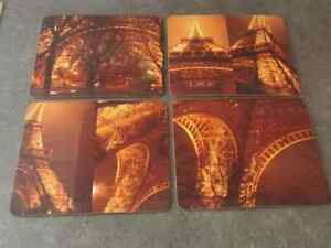 SET 4 PLACEMATS-23cm x 19cm-HIGH GLOSS- SEPIA ABSTRACT PHOTO IMAGES EIFFEL TOWER