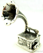 Vintage Style Miniature Sterling Silver Gramophone Phonograph #160