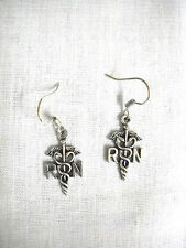 NEW RN NURSE SHIELD NURSING SYMBOL DANGLING CHARMS PIERCED HOOK EARRINGS