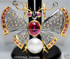 Antique 14.25cts Rose Cut Diamond Ruby Pearl Silver Butterfly Brooch Pin Jewelry