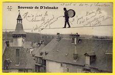 cpa 19 - MEYMAC TOUR de l' HORLOGE Souvenir de D'JELMAKO l' INDIEN FUNAMBULE