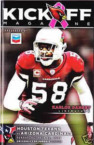 Houston Texans vs Arizona Cardinals Program 10/11/09 Karlos Dansby