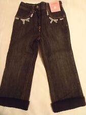 Gymboree Holiday Friends 2T Faux Fur Cuff Adjustable Waist Black Jean Pants NWT