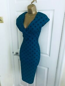 Quiz Teal Green V Neck Polkadot Evening Party Midi Wiggle Occasion Dress £35