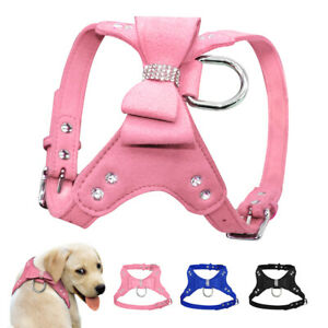 Suede Leather Dog Harness and Leash Bling Bowknot Walking Vest Small Medium Dogs