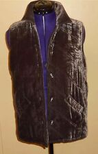 J Jill Womens Size Small Brown Velvet Sleeveless Vest Puffer Unique Buttons