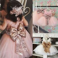 Flower Girl Sequin Tulle Tutu Baby Dress Princess Vintage Party Wedding