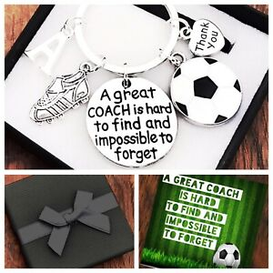 FOOTBALL COACH GIFT, KEYRING, A GREAT COACH IS HARD TO FIND, FOOTY, BOX & CARD