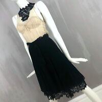 Moschino Women Silk CHIFFON Black White Lace Cocktail Evening Dress Size 38 US 0