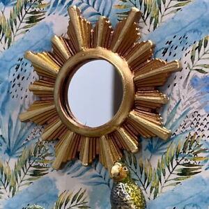 1:16 Dollhouse vintage wall mirror sunburst/starburst golden frame  Lundby scale