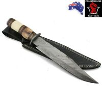 Handmade Bowie Knife, Damascus Blade, Pakka Wood & Bone Handle, Leather Sheath