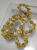 """Vintage Deco Czech Jonquil Yellow Bicone Handknotted Art Glass Bead Necklace 22"""""""