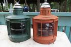 2 antique Robert W Proctor 1876 Nautical Metal Port & Starboard marine lanterns