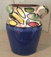 Stunning & Unique Vintage Studio Glazed Pottery Vase Cobalt Blue /  Colourful