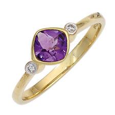 Echte Diamanten-Ringe aus Gelbgold mit Amethyst für Damen