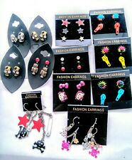 Lot Of 21 Pairs Fun Fashion Jewelry Pierced Earrings Teen Rock Punk Skulls Studs