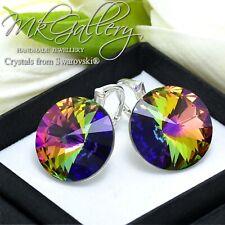 HUGE 925 Sterling Silver Earrings 18mm Rivoli Crystals from Swarovski® Colours
