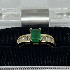 Lady's 14kt Yellow Gold Emerald & Diamond Ring Weighing 3.0 dwt Size 7