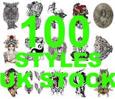 100 Styles!! Skull Feather Bird Tribal Wolf Tiger Dragon Eyes Temporary Tattoo