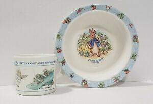 PETER RABBIT Bunny Bowl & Cup - Eden, F. Warne & Co. 1996