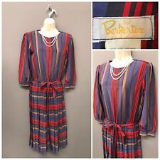 Vintage Berkertex Red Mix Pleated Dress UK 10 EUR 38