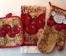 Fresh Apples Home Kitchen Decor 3 piece set - Oven Mitt,Towel,and Pot Holder