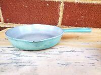 """Le Creuset Paris Blue Turquoise Enameled Cast Iron Skillet Vintage 6.5"""""""
