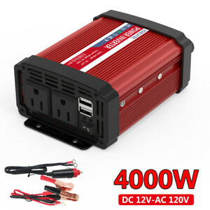 Car Solar Power Inverter 4000W DC 12V To AC 110V 120V Car Cable LCD US Plug 2USB