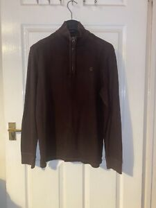 Mens Large Timberland Sweater Brown 1/4 Zip Jumper L Designer Top 100% Cotton