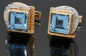Heavy 14K 2-tone gold high fashion 12.24CT diamond & topaz cufflinks