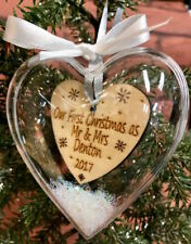 Our First Christmas As Mr & Mrs ..... Personalised Heart Bauble Tree Decoration