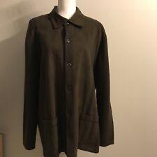 Tasso Elba Solid Brown 100% Merino Wool Button Down Sweater Men's Size:Xl