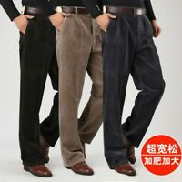 Men Cotton Warm Formal Dress Corduroy Trousers Loose Comfy Casual Pants Straight