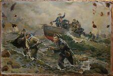 Russian Ukrainian Soviet oil painting realism military sailors fight army WW2